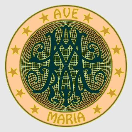 Médaille avec monogramme baroque ornemental M, avec l'inscription Ave Maria, entourée d'étoiles