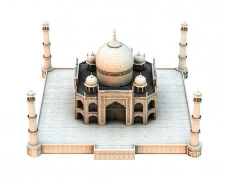 Photo pour Tajmahal isolé sur fond blanc illustration 3d - image libre de droit