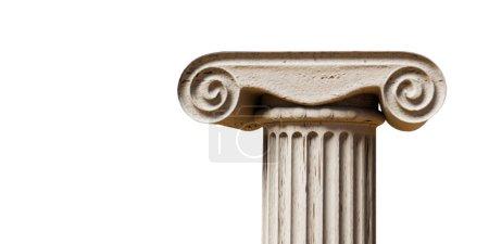 Photo pour Colonne grecque antique isolée sur fond blanc illustration 3d - image libre de droit