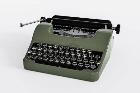 Photo pour Vieille machine à écrire verte isolée sur fond blanc illustration 3d - image libre de droit