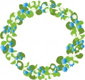 Vector wreath of blue flowers