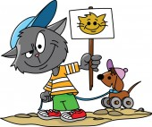 Cartoon cat holding a protest card in his hands vector illustration