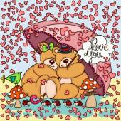 Background raining hearts couple teddy bears with umbrella