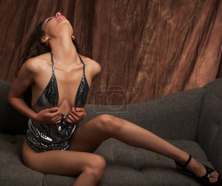 Photo for Beautiful sensual woman, alluring dark exotic looks - Royalty Free Image