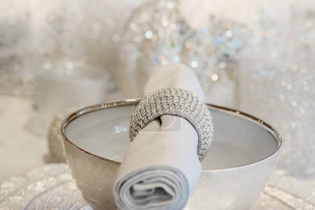 Festive diner decor welcoming guests, glittery glam style