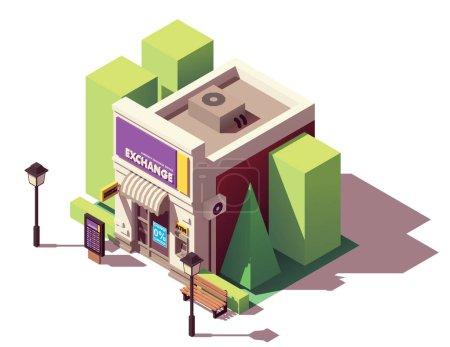 Illustration pour Bureau de change isométrique vectoriel avec tableau des taux de change, guichet automatique et auvent - image libre de droit