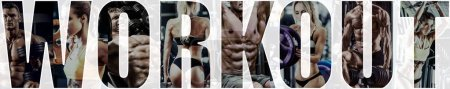 Photo for Bodybuilding gym workout concept , horizontal panorama, collage of photo - Royalty Free Image