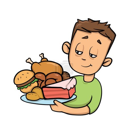 Boy holding plate full of junk food. Overeating. Cartoon design icon. Flat vector illustration. Isolated on white background.