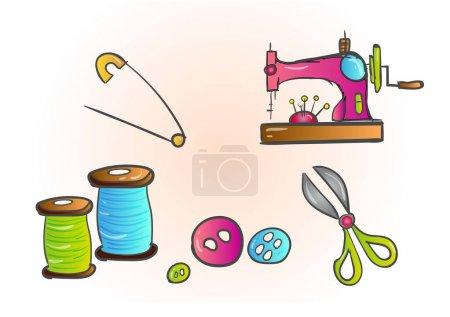 Illustration pour Outils d'adaptation couturière couturière couturière couturière ciseaux sans couture, fil, motif mercerie vecteur . - image libre de droit