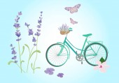 City bicycle Vintage style with lavander  Isolated vector illustration