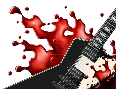 Black metal guitar with a blood splash isolated on...