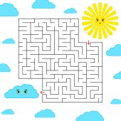 Abstract simple square isolated labyrinth Black color on a white background An interesting game for children Find the way from the cartoon of the sun to the cute cloud Simple flat vector illustration