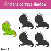 Find the correct shadow Education developing worksheet Matching game for kids Activity page Puzzle for children Riddle for preschool Cute character Isolated vector illustration Cartoon style