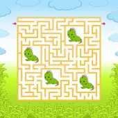 Maze Game for kids Funny labyrinth Education developing worksheet Activity page Puzzle for children Cute cartoon style Riddle for preschool Logical conundrum Color vector illustration