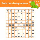 Paste the missing numbers Handwriting practice Learning numbers for kids Education developing worksheet Activity page Game for children Isolated vector illustration in cute cartoon style