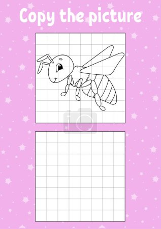 Illustration for Copy the picture. Coloring book pages for kids. Education developing worksheet. Game for children. Handwriting practice. Funny character. Cartoon vector illustration. - Royalty Free Image