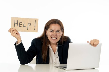 Photo for Young attractive depressed latin businesswoman holding help sign message exhausted under pressure and stress isolated on white in Unemployment Gender discrimination Depression and overwork concept. - Royalty Free Image