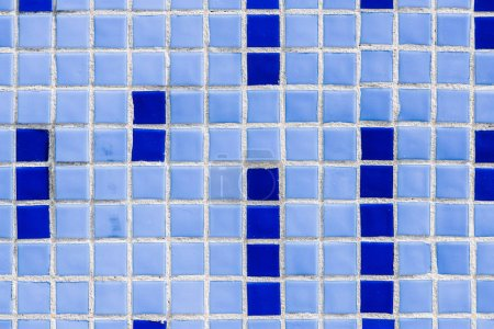 full frame image of wall with blue ceramic tiles background