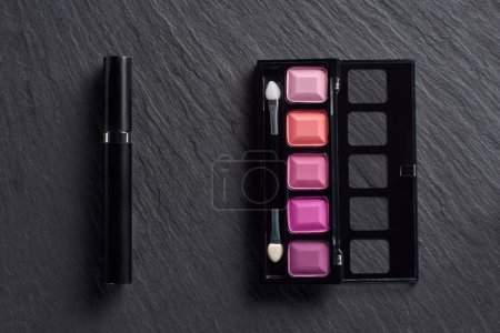 Pink eye shadows and mascara on dark slate background