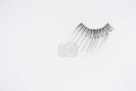 Single piece of eyelashes on white background