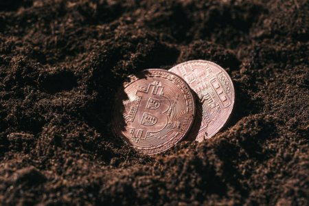 close up view of bronze bitcoins in ground