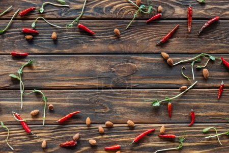 full frame of arranged chili peppers, almonds and sprouts on wooden tabletop