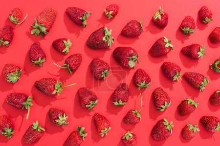 Photo for Fresh summer strawberries on red background - Royalty Free Image