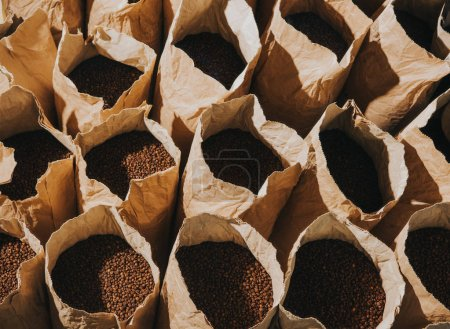 Craft paper bags with freshly roasted coffee beans