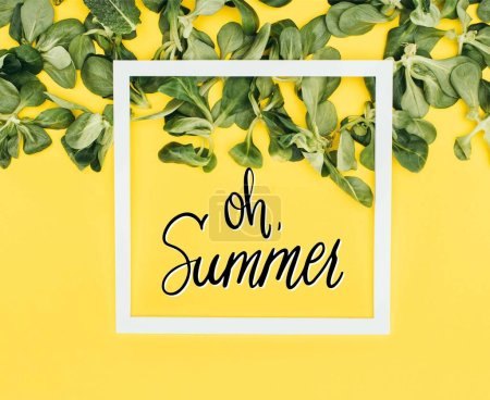 white frame with words oh summer and green leaves on yellow