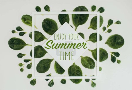 top view of beautiful fresh green leaves with words enjoy your summer time on grey