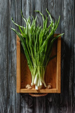 top view of bunch of ripe leeks in box on wooden tabletop