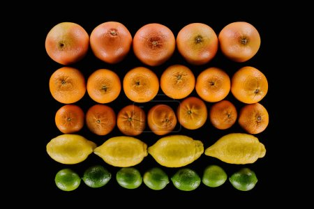 top view of composition of various ripe citrus fruits in rows isolated on black