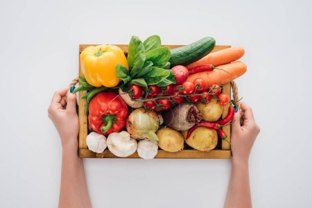 cropped shot of person holding box with fresh raw vegetables isolated on white