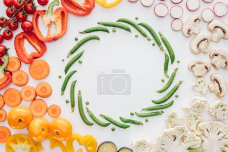 top view of fresh raw organic vegetables isolated on white background