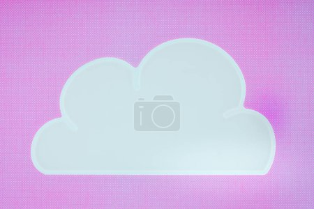 top view of white napkin in shape of cloud isolated on violet
