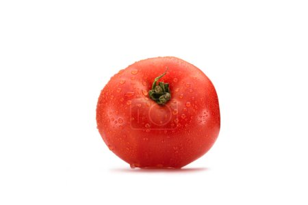 close up view of fresh wet tomato isolated on white