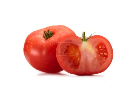 close up view of arranged fresh tomatoes isolated on white