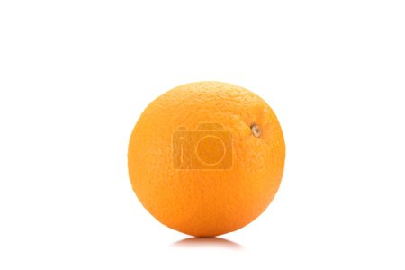 close up view of fresh wholesome orange isolated on white
