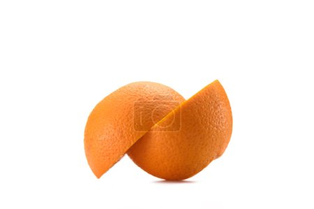 close up view of arranged fresh orange pieces isolated on white