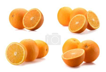 Photo pour Vue rapprochée d'oranges saines et coupées isolées sur blanc - image libre de droit