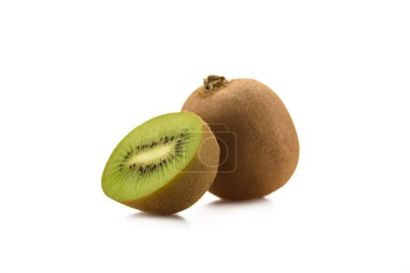Photo for Close up view of fresh and ripe kiwi isolated on white - Royalty Free Image