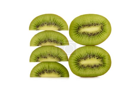 close up view of kiwi fruit pieces isolated on white