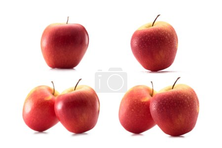 close up view of arranged wholesome apples isolated on white