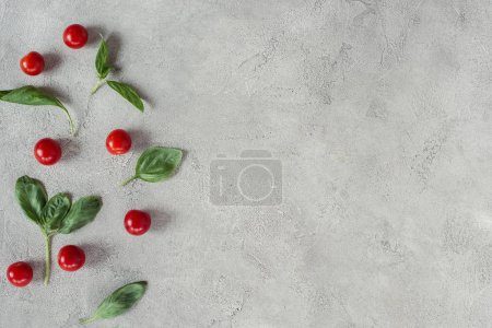 Photo for Flat lay with arranged cherry tomatoes and spinach on grey tabletop - Royalty Free Image