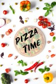 flat lay with italian pizza on wooden board and various ingredients isolated on white, pizza time inscription