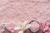 """Постер, картина, фотообои """"вид сверху красивые орхидеи, мыло ручной работы и розовый морской соли, концепция спа"""""""