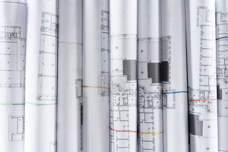 full frame image of arranged architect blueprints placed in row