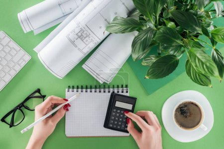 cropped image of female architect calculating at table wth blueprints, plant and coffee