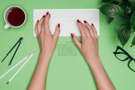 Photo for Cropped image of female architect typing on computer keyboard at table with coffee, plant and divider - Royalty Free Image
