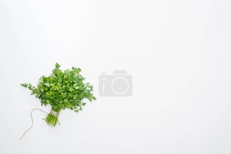 Photo for Top view of green parsley tied with rope isolated on white - Royalty Free Image
